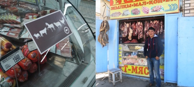 Horse meat is ubiquitous in Kazakhstan, both in supermarkets (left) and local markets (right)