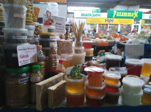 Green market bee-product stall
