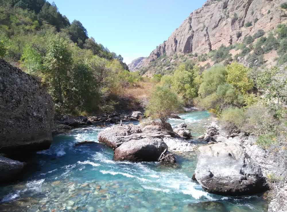 River at the bottom of Aksu Canyon
